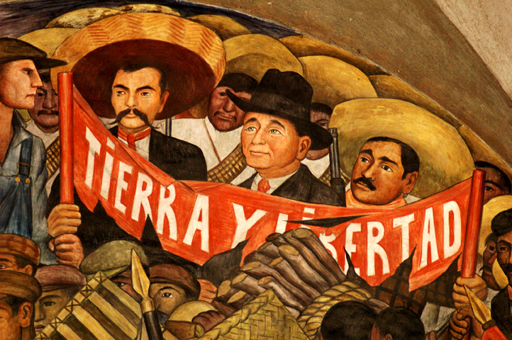 Land liberty in the mexican revolution for Emiliano zapata mural