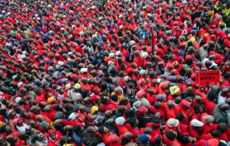 South African workers on strike