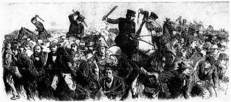 Police attacking strikers - Homestead Strike 1892