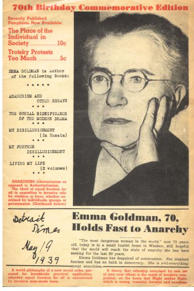 Emma Goldman 70th birthday