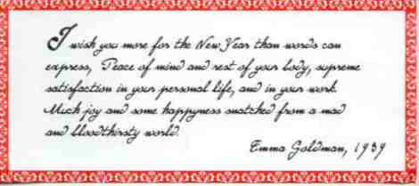 "Emma Goldman ""Happy New Year"""