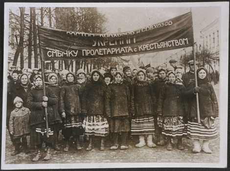 Russian peasants demonstrating in Moscow 1917